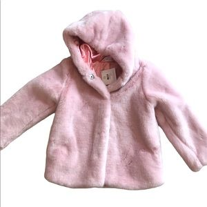 NWT Hanna Andersson little girls faux fur coat 120